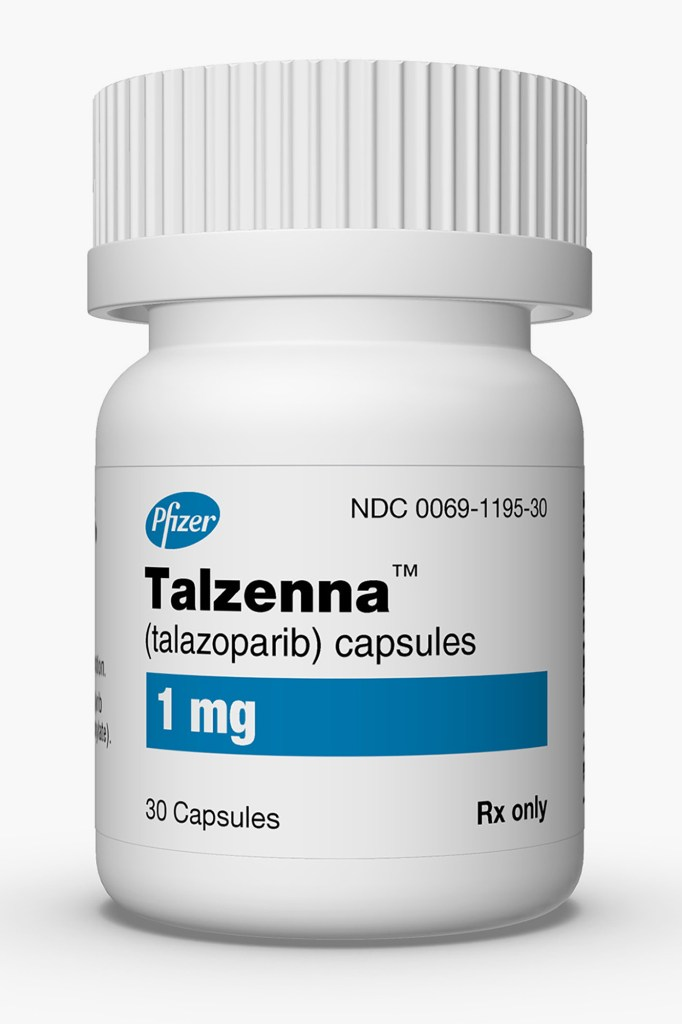 Talazoparib, sold under the brand name Talzenna, is an orally available poly ADP ribose polymerase (PARP) inhibitor developed by Pfizer for the treatment of advanced breast cancer with germline BRCA mutations.