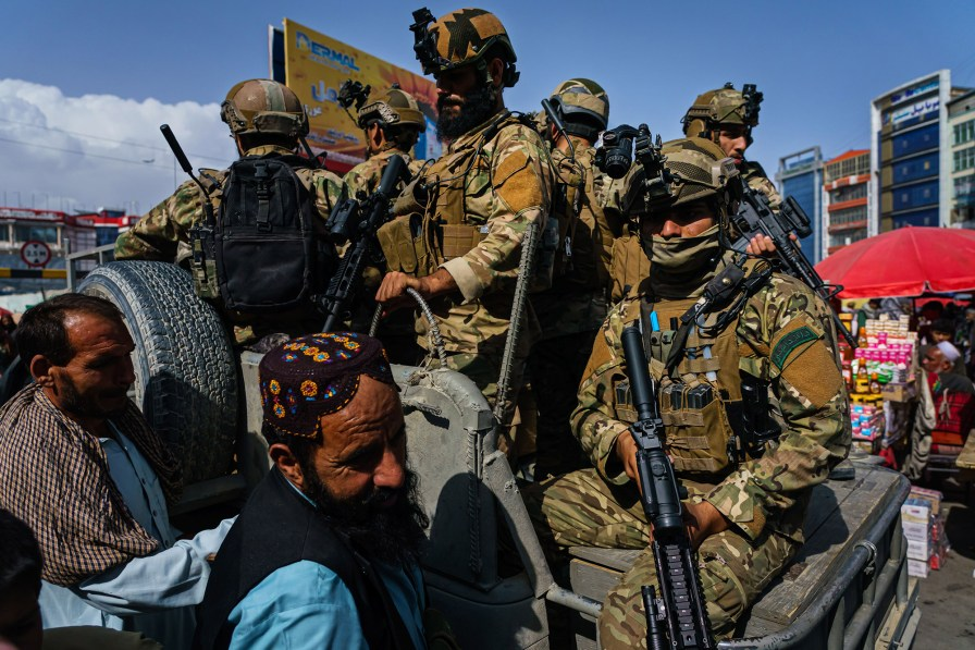 Khalil al-Rahman, the leader of a Taliban-affiliated network and a U.S.-designated terrorist, was given protection while visiting a mosque in Kabul on August 20, 2021.