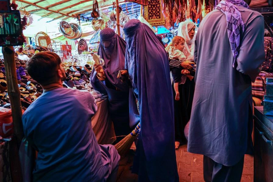 Women shop in the women's area of Lycee Maryam Bazaar in the Khair Khana district of Kabul, Afghanistan