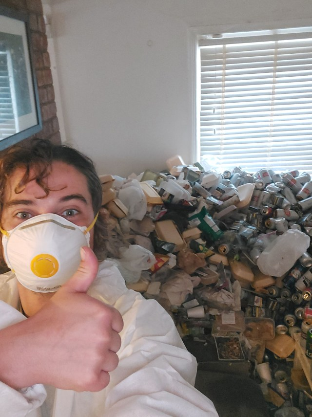 Waste disposal worker Freddie Gillium-Webb, who was tasked with cleaning the trashed apartment.