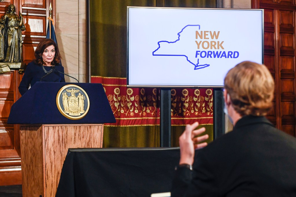 ew York Gov. Kathy Hochul gives a COVID-19 briefing in the Red Room at the state Capitol Wednesday, Sept. 15, 2021, in Albany, N.Y.