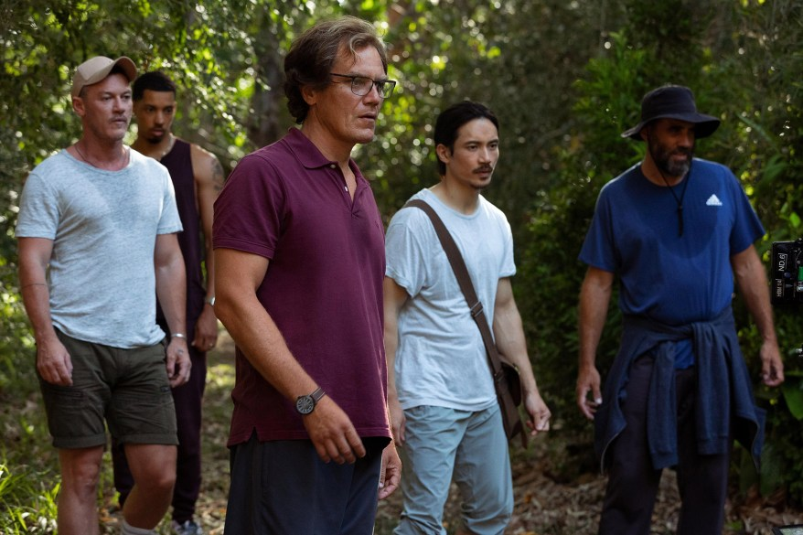 Michael Shannon, playing Napoleon, stands on the vast estate, which offers forest walking trails, a custom-made zen garden, bamboo plants and a pond.