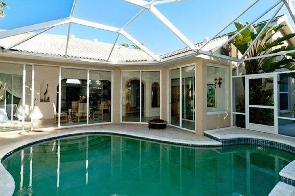 The pool with a plastic roof cover.