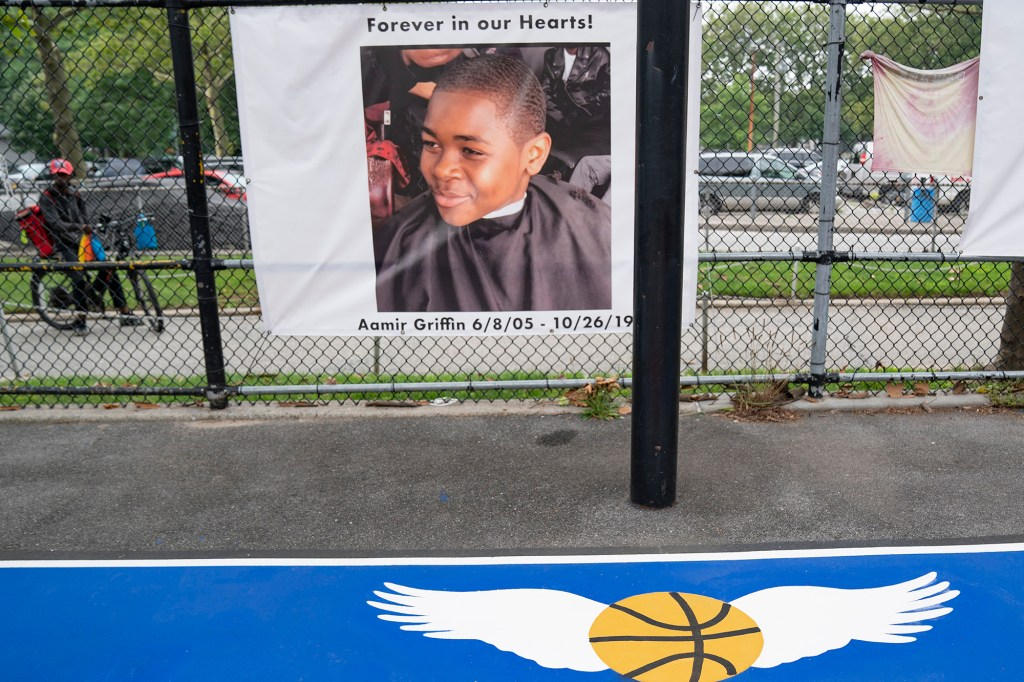 Baisley basketball court in South Jamaica, where Aamir Griffin was fatally shot, received a complete makeover with a brand new look on July 13, 2021.