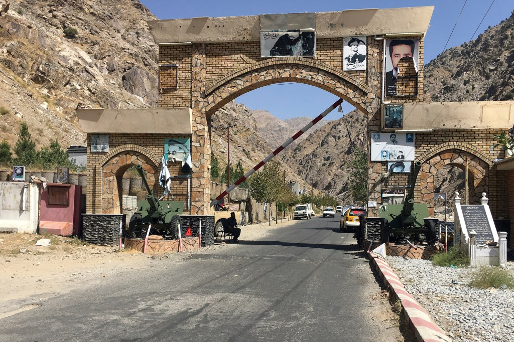 A Taliban soldier guarded the Panjshir gate in Panjshir province.