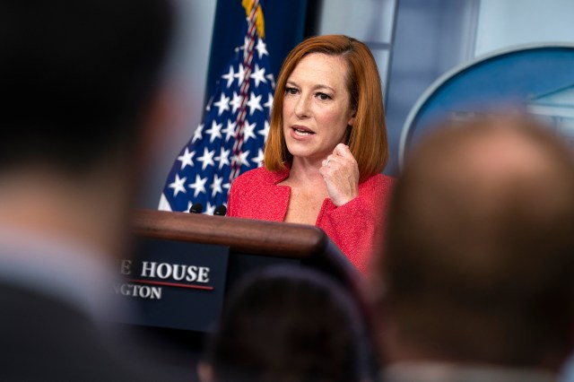 Jen Psaki said at Monday's press briefing that the president would prefer questions to be on topic.