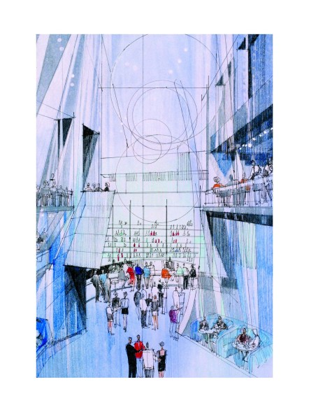 """The """"Blue Moon"""" restaurant is imagined in this drawing."""