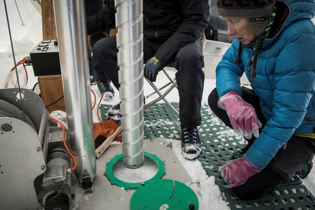 Margit Schwikowski is pictured as scientists from the Ice Memory Project prepare to drill on Monte Rosa in this June 2021 handout photo. Picture taken June 2021.