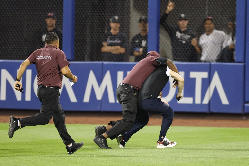 That until one Citi Field security guard levels the fan in the outfield grass.