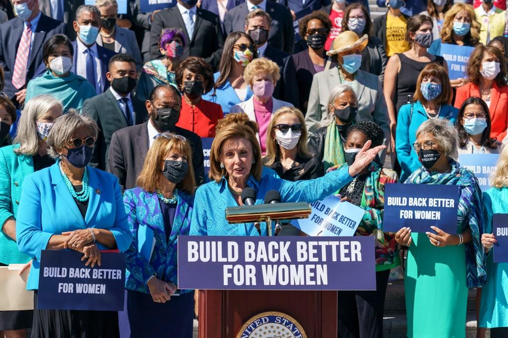 House Speaker Nancy Pelosi holds a rally.
