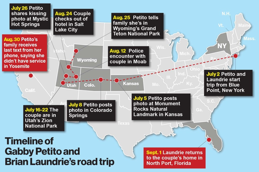 A timeline of Petito and Laundrie's trip.