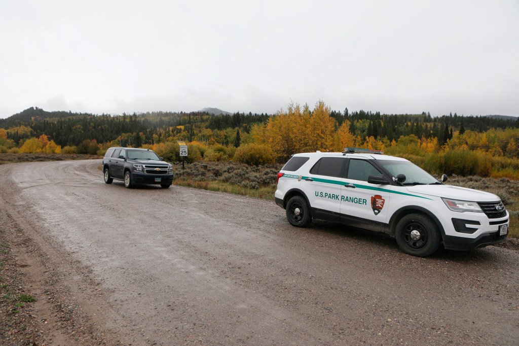 A U.S. Park Ranger car drives through the Spread Creek area in the Bridger-Teton National Forest in Wyoming during the search for Gabby Petito's remains.