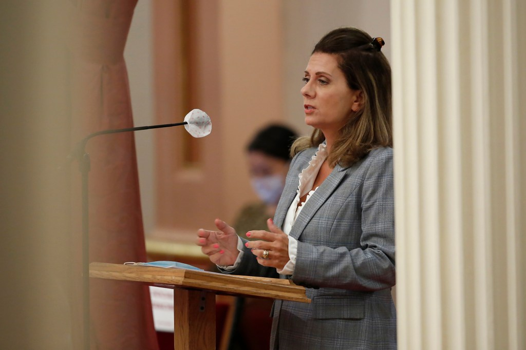 In this July 2, 2020, file photo State Sen. Melissa Melendez, R-Lake Elsinore, address the state Senate at the Capitol in Sacramento, Calif.