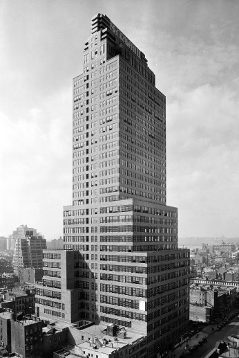 An old black and white photo of the office tower