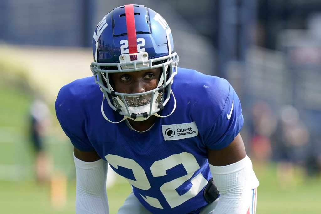 New York Giants cornerback Adoree' Jackson performs field drills during a joint practice with the New England Patriots on Aug. 25, 2021, in Foxborough, Mass.
