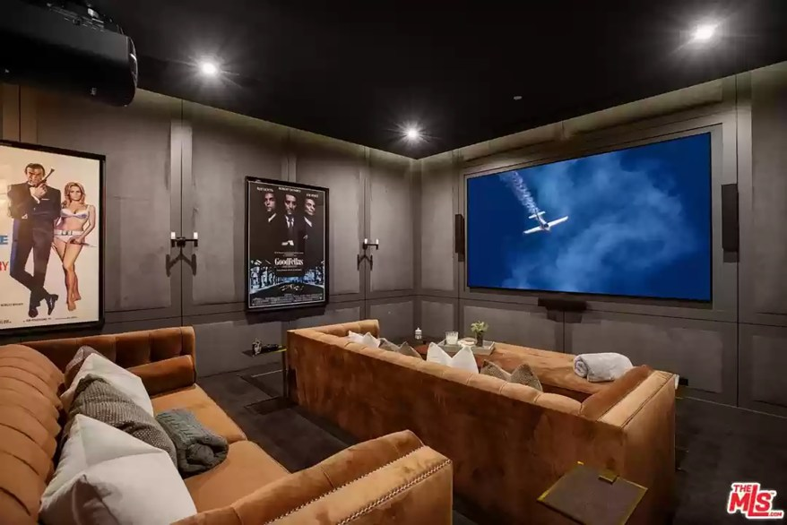 A home theater in the LA house is pictured.