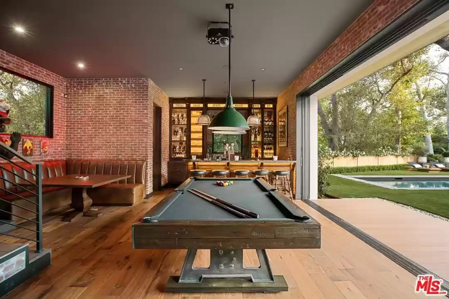 A billiards room in the LA house is pictured.