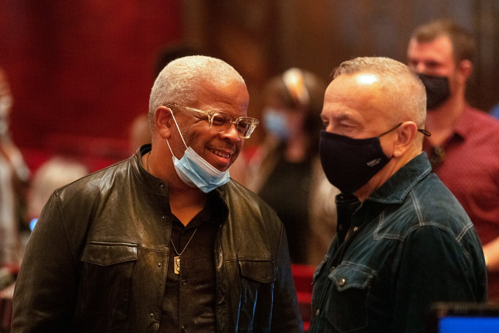 Composer Terence Blanchard, left, talks with co-director James Robinson at intermission during a rehearsal of Fire Shut Up in My Bones at the Metropolitan Opera house, Friday, Sept. 24, 2021, in New York.