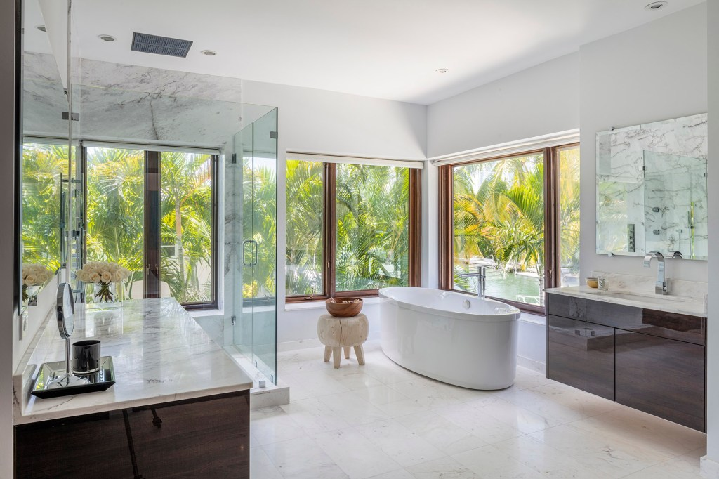 A bathroom in the Miami house is pictured.