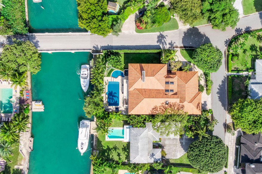 The Miami home is pictured from above on the island of Bay Point.