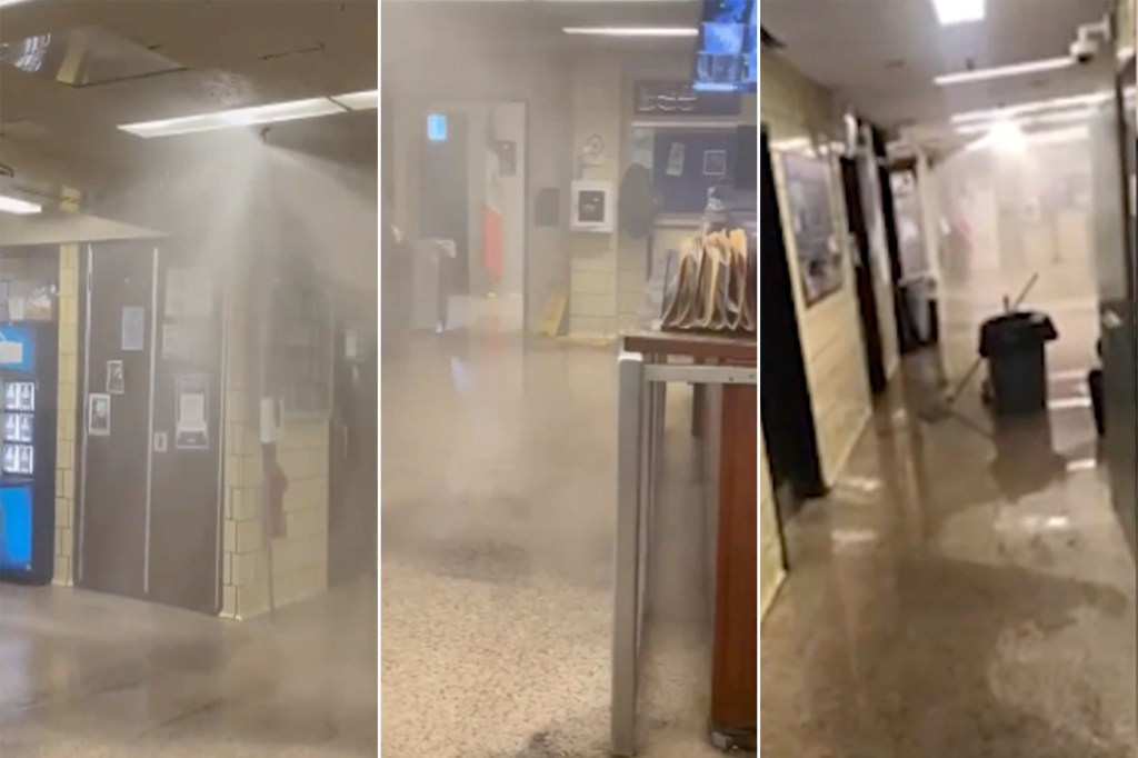 An NYPD officer accidentally set off the sprinkler system on an alleged bad throw at the 72nd Precinct.