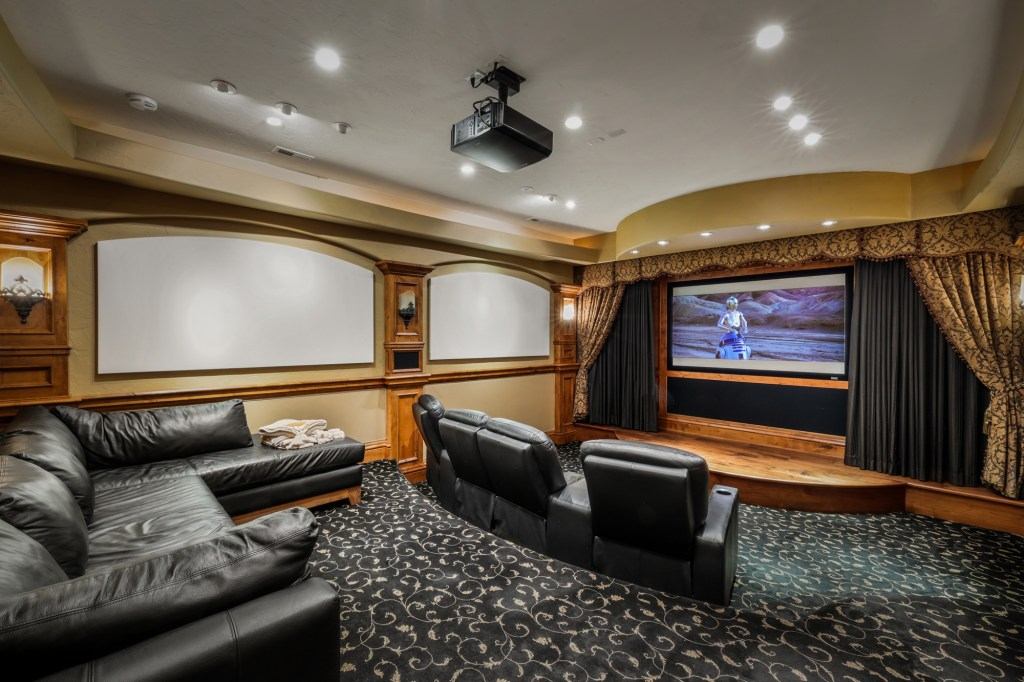 A home theater is one of the many amenities that has recently been added to the historic house.