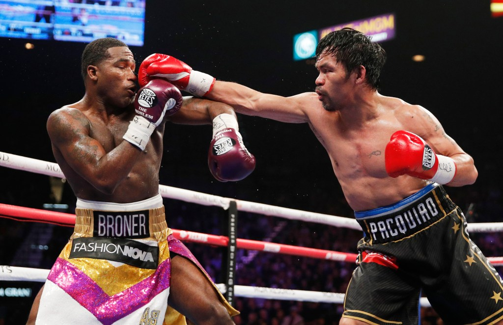 Manny Pacquiao fights Adrien Broner in a welterweight championship bout.