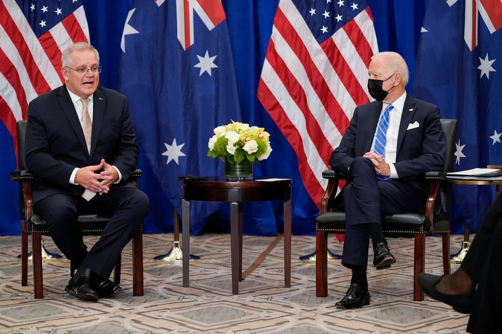 US President Joe Biden and Australian Prime Minister Scott Morrison meet after the UN General Assembly on September 21, 2021