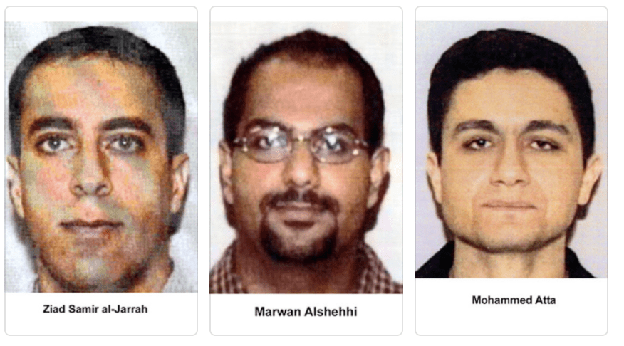 From left to right: Ziad Jarrah, Marwan al Shehhi, and Mohamed Atta.