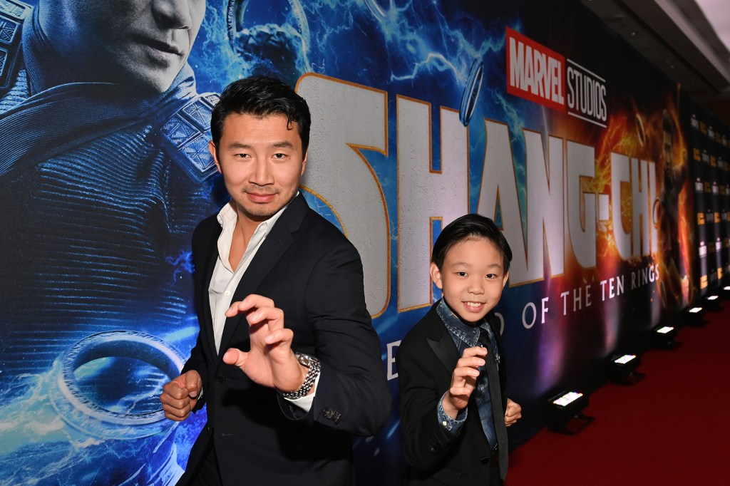 Simu Liu and Jayden Zhang pose at the Toronto Premiere of 'Shang-Chi and the Legend of the Ten Rings' on September 1, 2021.