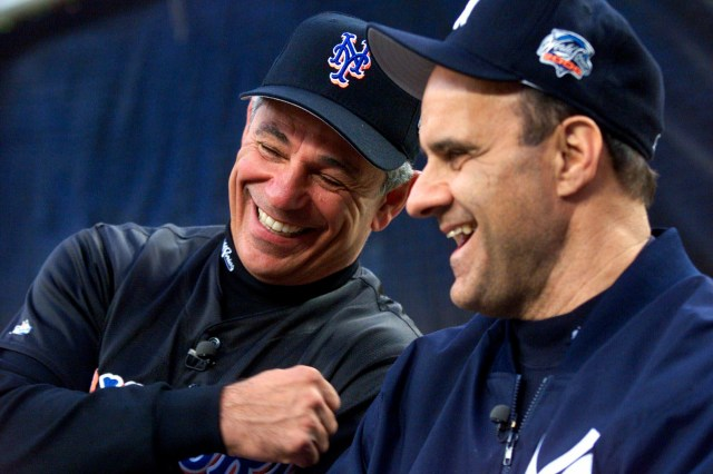 Then New York Mets manager Bobby Valentine (left) and New York Yankees manager Joe Torre in the 2000 World Series.