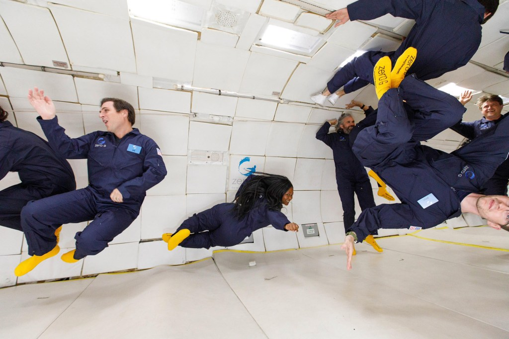 Grace and her fellow flyers hooped and hollered in excitement upon going weightless.