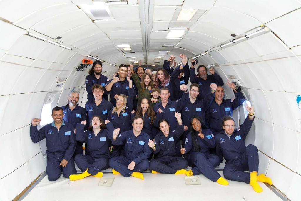Grace (bottom right) and her co-flyers on the Zero-G flight out of Newark Airport.
