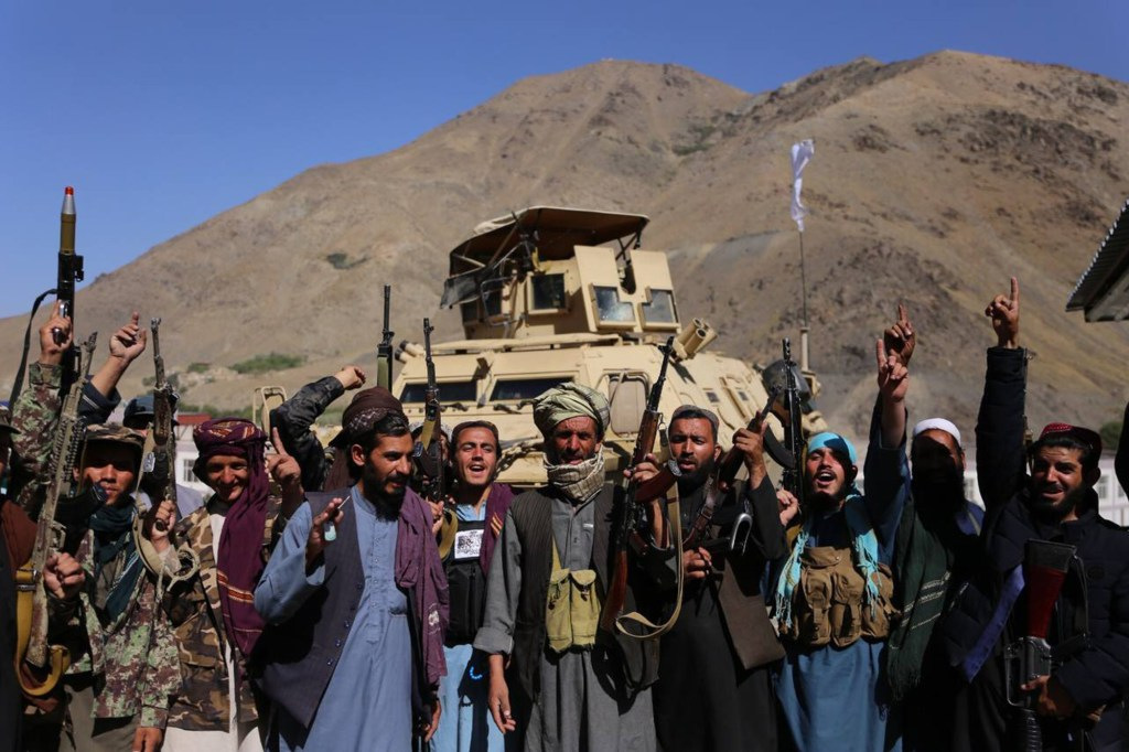 Taliban fighters celebrate after seizing the Panjshir Valley, the remaining Afghan forces stronghold, in Afghanistan on September 6, 2021.