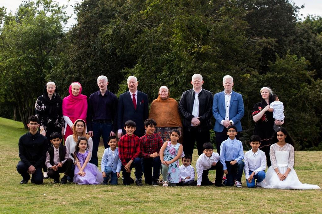 Naseem Akhtar with her family. Back row, from left: Musarat Begum, Naseem Akhtar, Ghulam Ali, Aslam Parvez, Shameem Akhtar, Haider Ali, Mohammed Rafi and Muqadas Bibi. Front row, from left: Ahmed, 18; Asim, 9; Sidra, 20; Grace, 6; Reharn, 5; Oliver, 9; Dylan, 12; Khadija, 8; Azmat, 3; Sadiq, 9; Asad, 11; Hussan, 10; and Miryam, 13.
