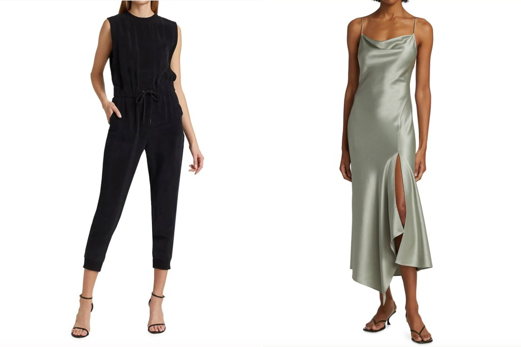 a split image of two women wearing Alice and Olivia jumpsuits and dresses in black and green