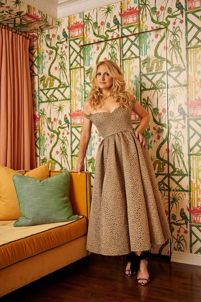 """Dior dress, $9,700 at Dior boutiques, Call (800) 929-DIOR. """"Serpenti Viper"""" necklace, $19,600 at Bulgari. """"Pat"""" heels, $495 at Agnes Bethel."""