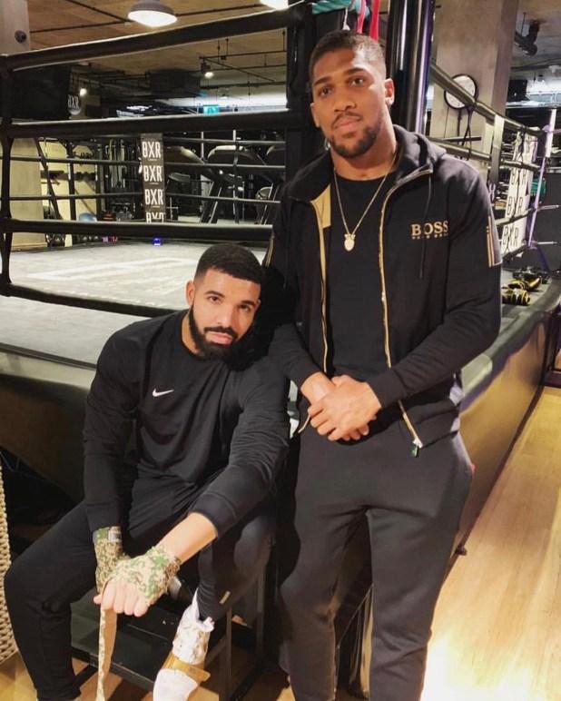 Anthony Joshua (left) with Drake