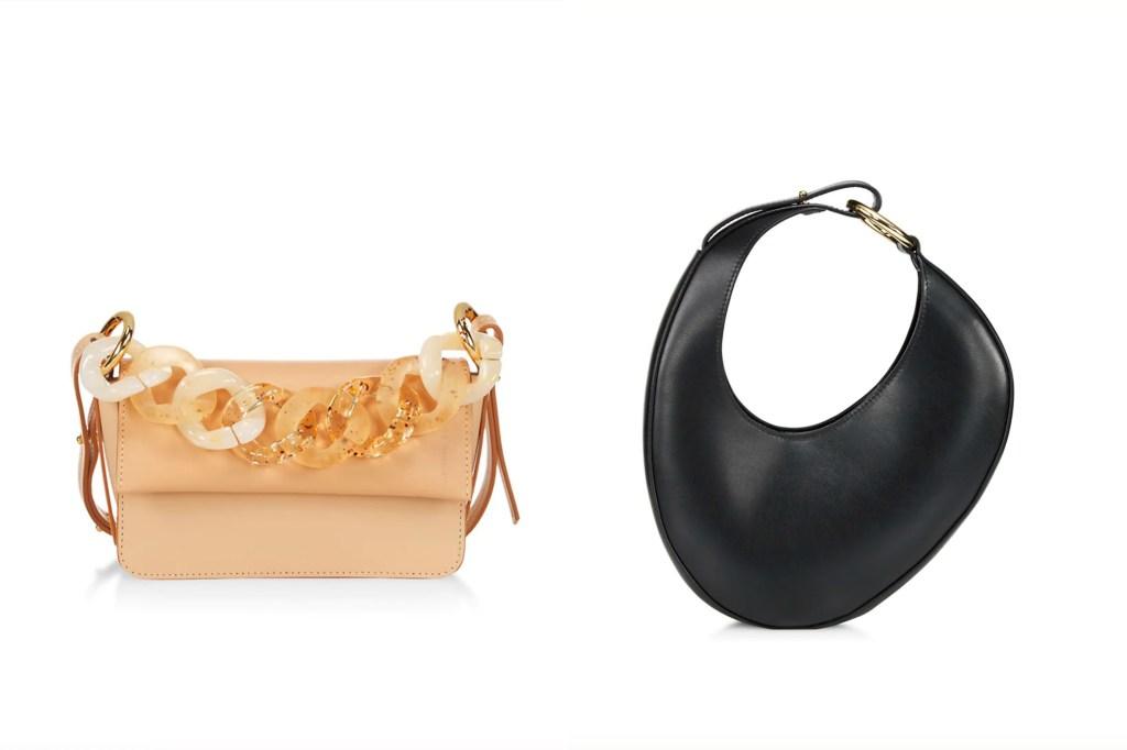 A peach colored handbag with chunky chain next to an oblong black bag