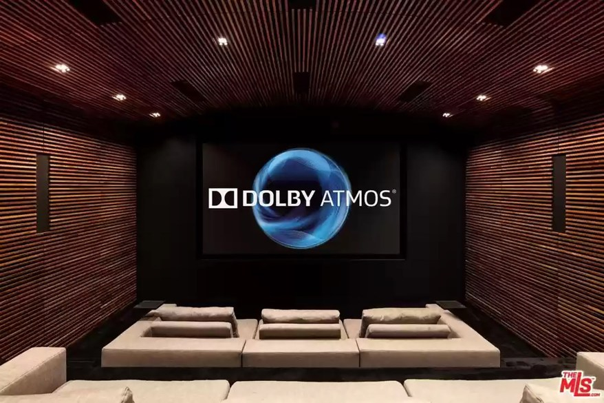 Home theater level up: The Orum residence has a Dolby Atmos theater.
