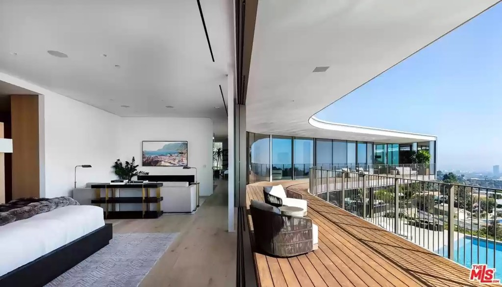 One of the home's nine bedrooms is pictured.