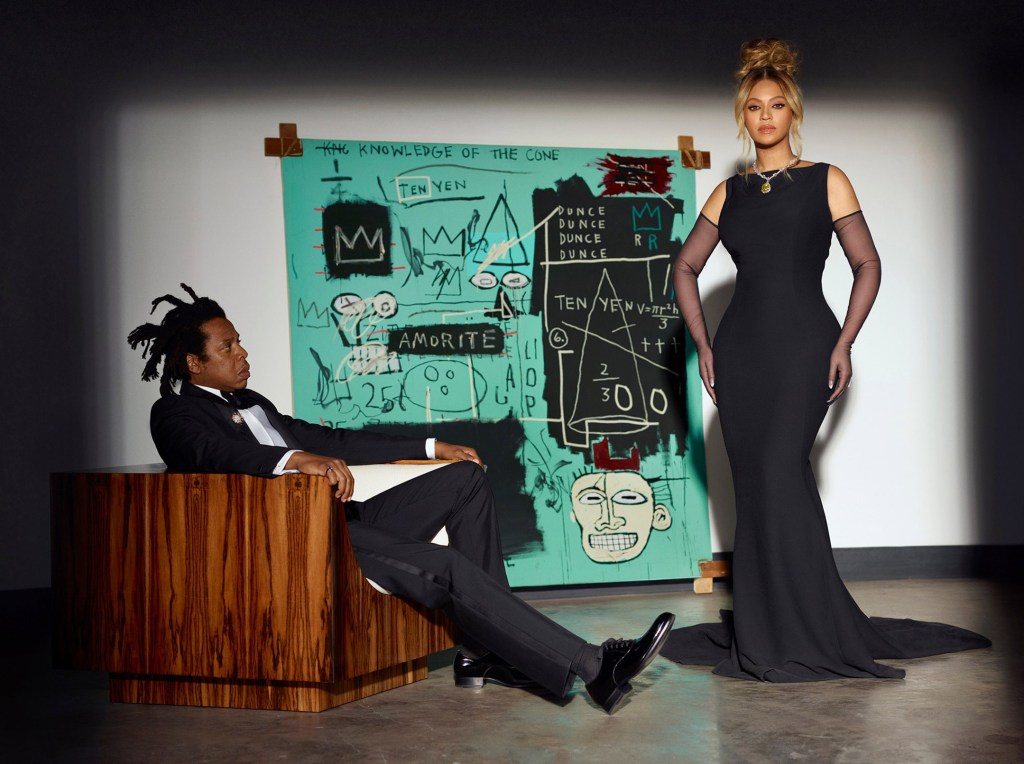 """The advertisement became controversial both because of the diamond's colonial origins and because of the campaign's use of a never-before-seen Jean-Michel Basquiat """"Equals Pi"""" print rendered in Tiffany Blue."""