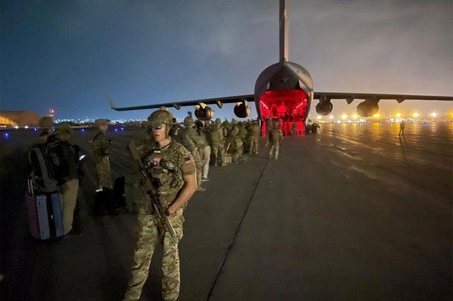 82nd Airborne Division paratroopers board a US Air Force C-17 plane on their way out of Hamid Karzai International Airport in Kabul, Afghanistan on August 30, 2021.