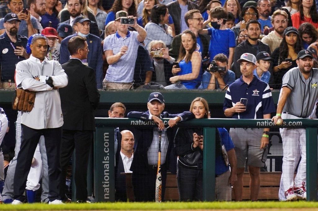 President Joe Biden attending the annual Congressional Baseball Game at Nationals Park on September 29, 2021.