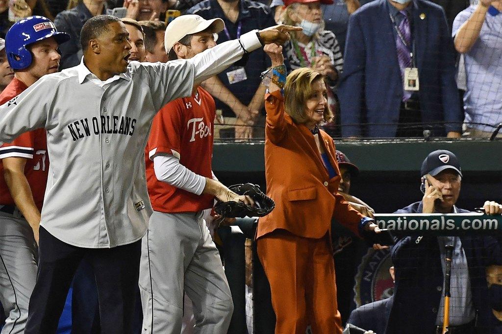 House Speaker Nancy Pelosi attending the game.