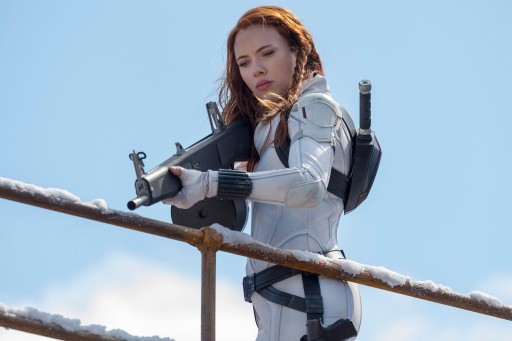 """This image released by Marvel Studios shows Scarlett Johansson in a scene from """"Black Widow."""""""