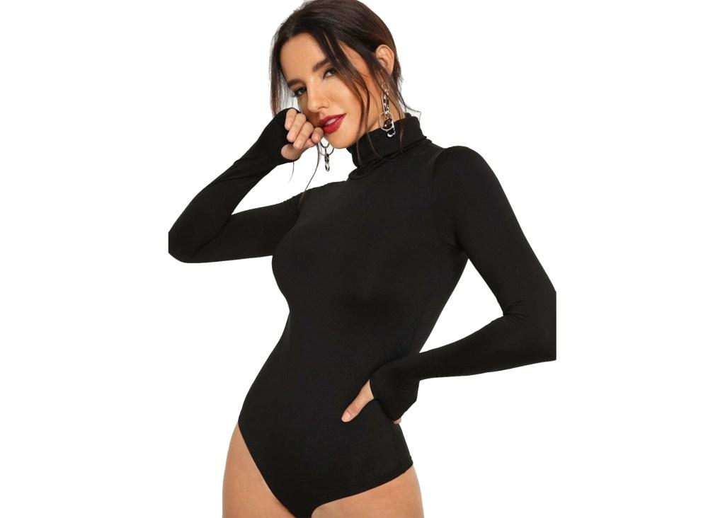 High Neck Solid Bodysuit