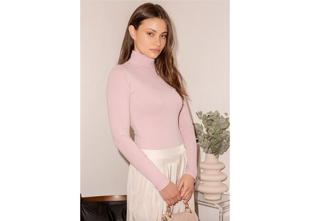 Wilde Blush Pink Ribbed Long Sleeve Mock Neck Bodysuit