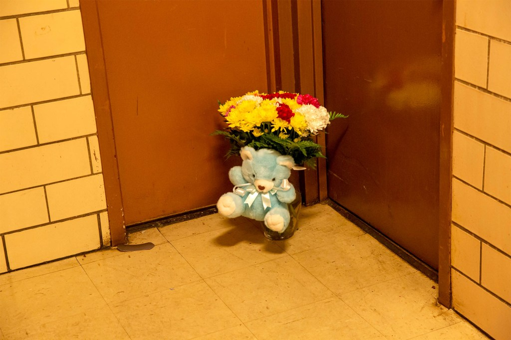 A memorial for Beauford in the building where he was killed in the Bronx.