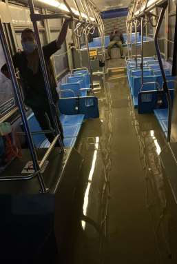 Passenger stuck in the flooded MTA bus as the remnants of Hurricane Ida hit the city.
